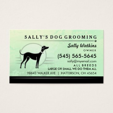 Professional Business Dog Groomer Mint Green & Black Business Card