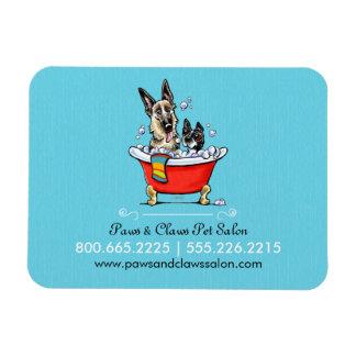 Dog Groomer Pet Salon Fancy Tub Blue Business Vinyl Magnet