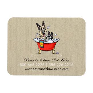 Dog Groomer Pet Salon Fancy Tub Organic Business Rectangular Magnets
