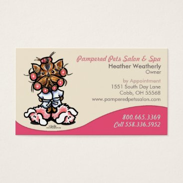 Professional Business Dog Groomer Pet Spa Business Yorkie Business Card