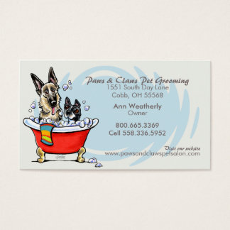 Dog Groomer Pet Spa Claw Tub Blue Appointment Business Card