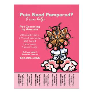 "Dog Groomer Pet Spa Yorkie Curlers Tear Sheet 8.5"" X 11"" Flyer"