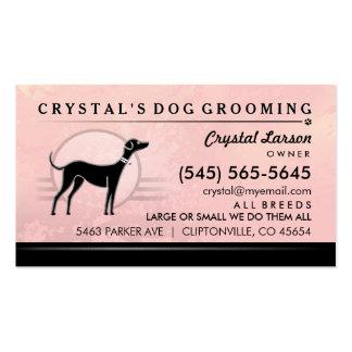 Dog Groomer Pink Swirl & Black Business Card