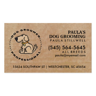 Dog Groomer Professional Brown Business Card