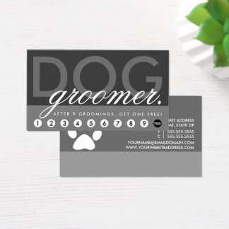 dog groomer rewards program business card