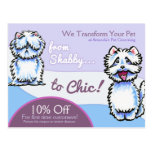 Dog Groomer Shabby Chic Westie Coupon Mailer Post Cards
