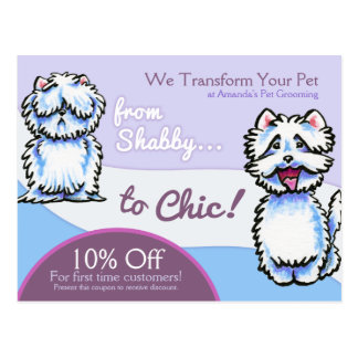 Dog Groomer Shabby Chic Westie Coupon Mailer Postcard