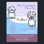 """Dog Groomer Shabby Chic Westie Promotional Flyer<br><div class=""""desc"""">Click the Read More link below to view coordinating products. Promote your pet grooming business with these full color eye-catching flyers that you personalize with your own info. Original design by Andie,  illustrator and creator of Off-Leash Art™,  featuring her hand drawn shaggy and trimmed Westie illustrations.   Coordinates with:</div>"""