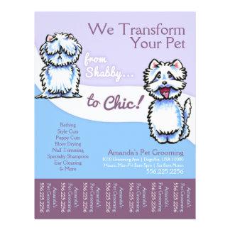 Dog Groomer Shabby Chic Westie Tear Sheet Flyer Design