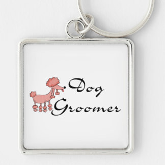 Dog Groomer Silver-Colored Square Keychain