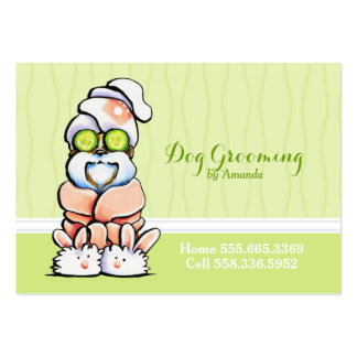 Dog Groomer Spa Robed Shih Tzu Cucumber Business Card Template