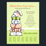 """Dog Groomer Spa Shih Tzu Cucumber Tear Sheet<br><div class=""""desc"""">Promote your pet grooming business with these full color eye-catching flyers that you personalize with your own info. Original design by Andie,  illustrator and creator of Off-Leash Art™,  featuring her hand drawn salon themed Shih Tzu illustration.</div>"""