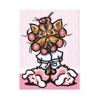 Dog Groomer Spa Yorkie Pink Canvas Print