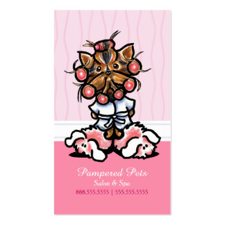 Dog Groomer Spa Yorkie Pink Customer Rewards Punch Business Card