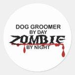 Dog Groomer Zombie Round Stickers