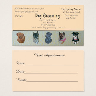 dog Grooming and pet care services appointment Business Card