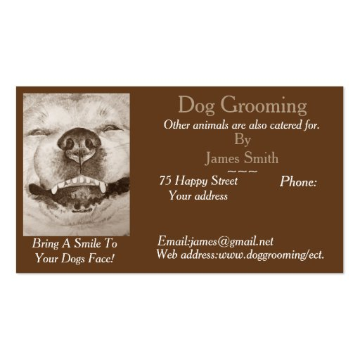 Dog grooming and pet care services customizable business for Dog grooming business cards