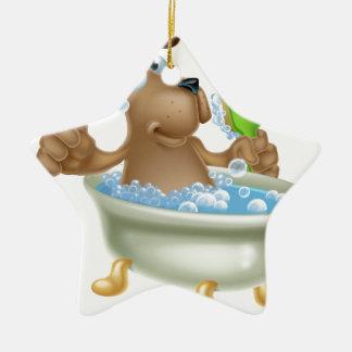 Dog grooming bath cartoon ceramic ornament