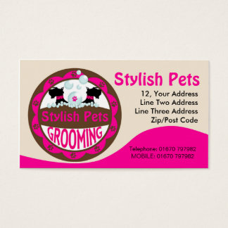 Dog Grooming Business Card With Scottie Dogs