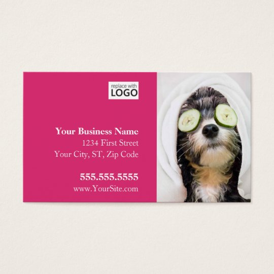 Dog grooming business cards spa design zazzlecom for Pet grooming business cards