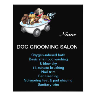 Dog grooming business personalized flyer