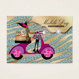 Dog Grooming Cool Sparkle Zebra Pet Veterinarian Business Card