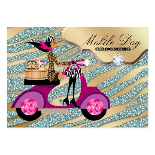Dog Grooming Cool Sparkle Zebra Pet Veterinarian Business Card Templates