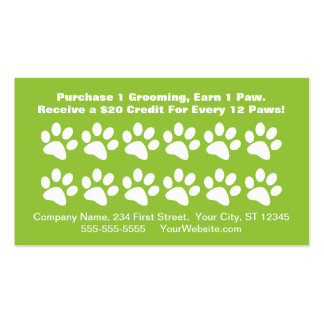 Dog Grooming Customer Reward Card - Loyalty Card Double-Sided Standard Business Cards (Pack Of 100)