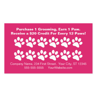 Dog Grooming Customer Rewards Card - Loyalty Card Double-Sided Standard Business Cards (Pack Of 100)
