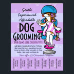 """Dog Grooming. Customizable Promotional Tear sheet<br><div class=""""desc"""">A super adorable dog or pet grooming promotional tear sheet flyer to advertise your grooming service. Features a truly pampered pooch. A feminine dog with her hair in curlers, sitting under a dryer waiting for her manicure and pedicure to dry. She&#39;s had a massage so she&#39;s still wrapped in a...</div>"""