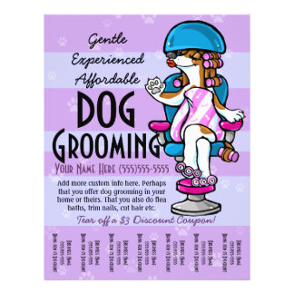 Dog Grooming. Customizable Promotional Tear sheet Flyer