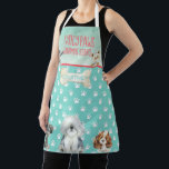 """Dog Grooming Dog Spa Personalized Apron<br><div class=""""desc"""">Must love Dogs Collection:  Step your Dog Grooming Business up with this adorable  Dog Grooming or Spa Apron.  Personalized with your Business Name and Your name or employee name Featuring cute Paw prints,  and a cute selection of Puppy Dogs,  Sheep Dog,  Poodle,  Spaniel,  schnauzer and Yorkshire</div>"""