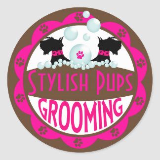 Dog Grooming Logo Customize with Your Name Classic Round Sticker