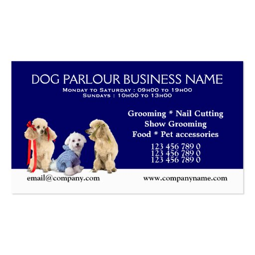 Dog grooming pet care personalize double sided standard for Pet grooming business cards