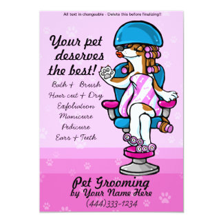 Dog Grooming promotional template 5x7 Paper Invitation Card