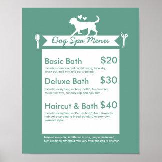 Dog Grooming Spa Menu - Personalizable Poster