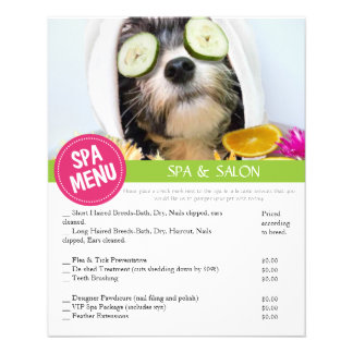 """Dog Grooming Spa Services Menu 4.5"""" X 5.6"""" Flyer"""