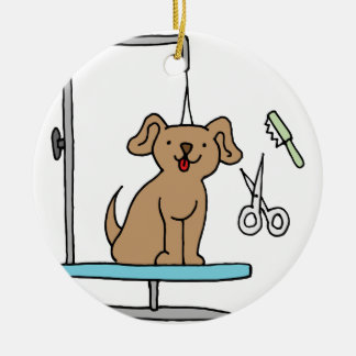 Dog grooming table ceramic ornament