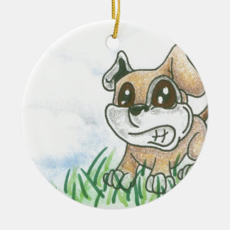 Dog Growl - TOWT  MAIN MASCOT - Full Background Double-Sided Ceramic Round Christmas Ornament