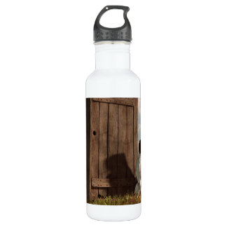 Dog Guarding An Outhouse 24oz Water Bottle