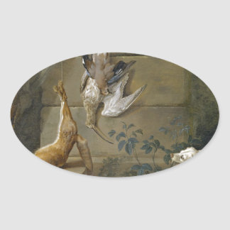 Dog Guarding Dead Game by Jean-Baptiste Oudry Oval Sticker