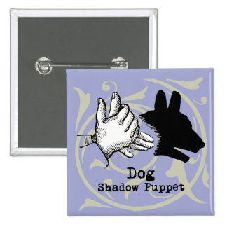 Dog Hand Puppet Shadow Games Vintage Button