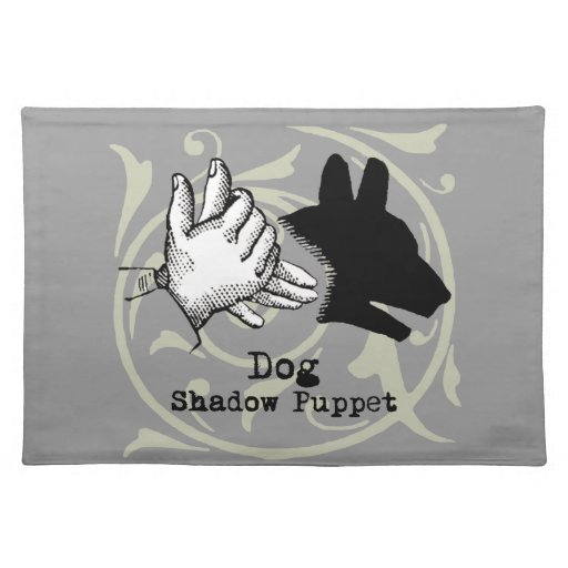 Dog Hand Puppet Shadow Games Vintage Placemat