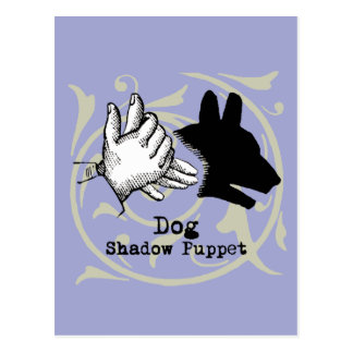 Dog Hand Puppet Shadow Games Vintage Postcard