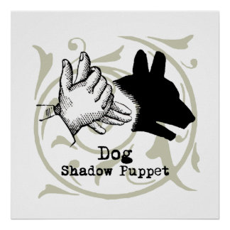 Dog Hand Puppet Shadow Games Vintage Poster