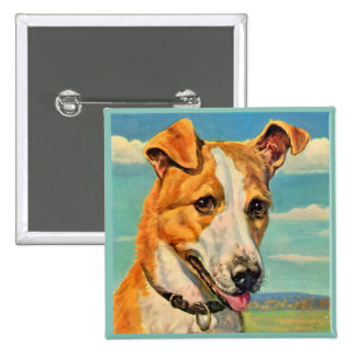 dog handsome dog pinback button