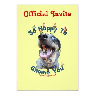 Dog Happy Gnome You 5x7 Paper Invitation Card