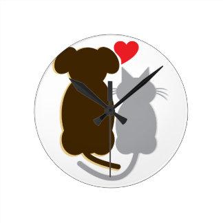 Dog Heart Cat Round Clocks