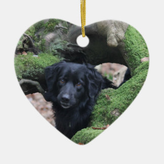 Dog heart ceramic ornament