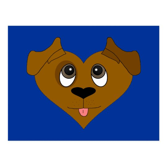 Dog Heart Face Postcard